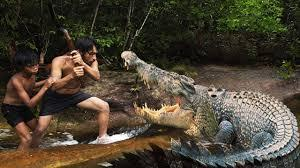 Humans fighting with crocodile